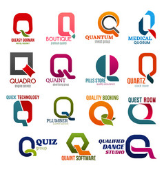 business icons letter q corporate identity vector image