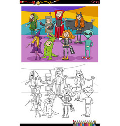 Cartoon halloween characters group coloring book vector