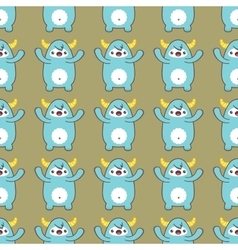 Cartoon yeti seamless pattern vector