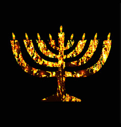 Chanukia golden menorah jewish holiday hanukkah vector