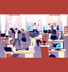 chaos in workplace sleepy lazy unorganized vector image