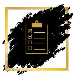 checklist sign golden icon vector image