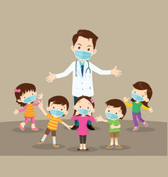 Children boy and girl and doctor wearing vector