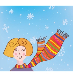 Christmas girl in funny scarf background vector image