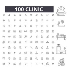 clinic editable line icons 100 set vector image