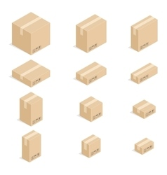 Closed cardboard boxes set vector