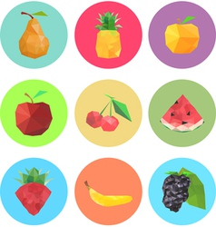 Collection of abstract origami fruits vector image