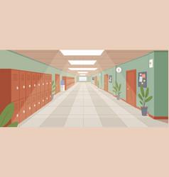 Colorful school corridor with window doors vector