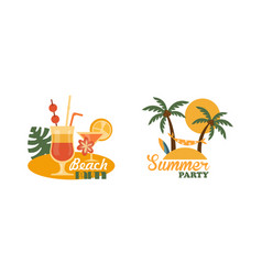 composition with cocktail bar and palm tree with vector image