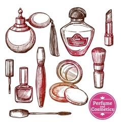 Cosmetics Set Hand Drawn Style vector image