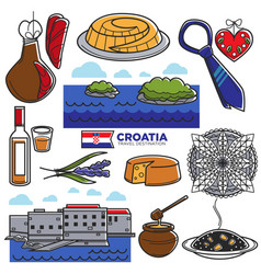 Croatia tourism travel famous symbols and tourist vector