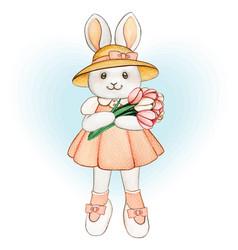 cute watercolor spring bunny with tulip bouquet vector image