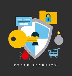 Cyber security technology vector