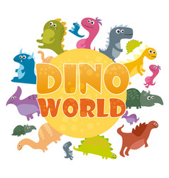 dinosaurs world poster cartoon dinosaurs vector image