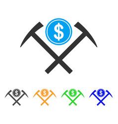 Dollar mining hammers icon vector