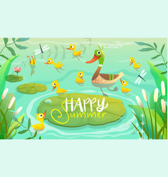 Duck family on pond scenery with lily and reeds vector