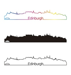 Edinburgh skyline linear style with rainbow vector image