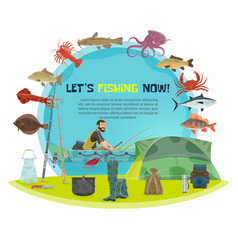 Fisherman sport fishing poster vector
