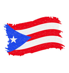 Flag of puerto rico grunge abstract brush stroke vector