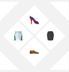 Flat garment set of heeled shoe male footware vector