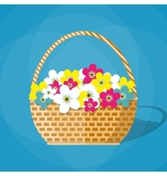 flowers in a basket vector image