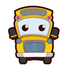 Full color cute and tender school bus kawaii vector