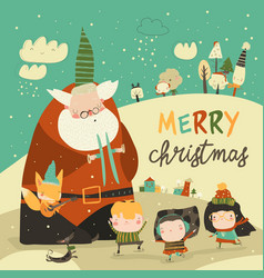 funny santa claus celebrating christmas with cute vector image