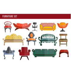 furniture sofa couch chair and armchair home room vector image