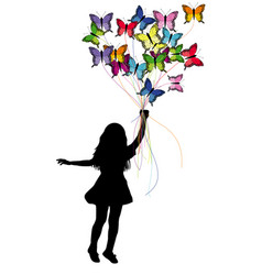 girl dragged by butterflies vector image