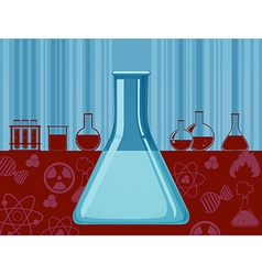 Glass beaker and other containers vector image