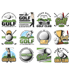Golf game sport equipment and trophy cup icons vector