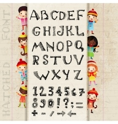 Hand drawing alphabet and numbers vector image