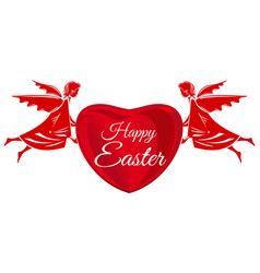 Happy easter angels big red heart with greeting vector