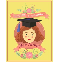 Happy Graduation Girl Yellow Greeting Card vector