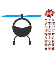 Helicopter icon with dating bonus vector