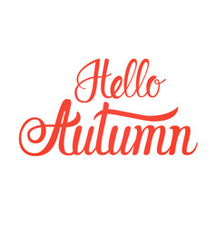 Hello autumn fall text banner over white vector