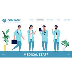 hospital landing page medical staff vector image