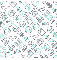 Hypermarket seamless pattern with thin line icons vector