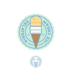 ice cream logo italian gelateria cafeteria cone vector image