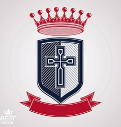 Imperial insignia royal shield with decorative vector image