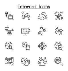 Internet connection icon set in thin line style vector