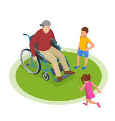 isometric grandfather goes with grandchildren down vector image