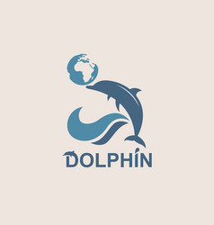 Jumping dolphin emblem vector