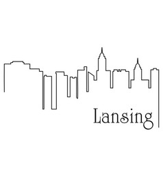 lansing city one line drawing vector image