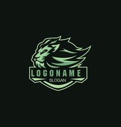 lion badge mascot logo for esport sport vector image