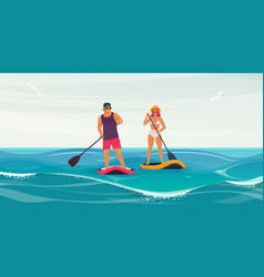 man and woman on stand up paddle board vector image