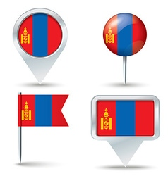 Map pins with flag of Mongolia vector