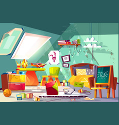 messy child attic bedroom interior cartoon vector image