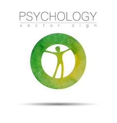modern man sign of psychology human in a circle vector image