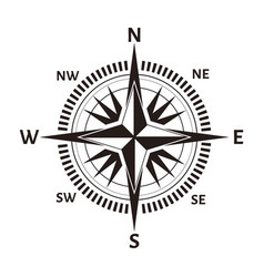 Navigation compass or wind rose icon retro vector